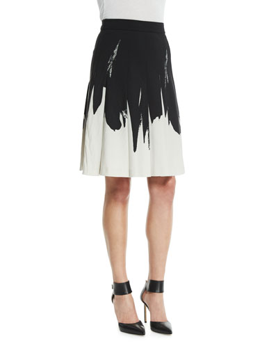 Two-Tone A-Line Skirt, Black/White