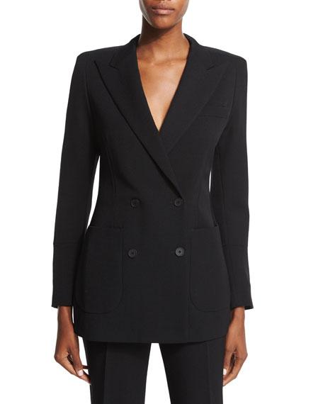 Bottega VenetaDouble-Breasted Structured-Shoulder Jacket, Black