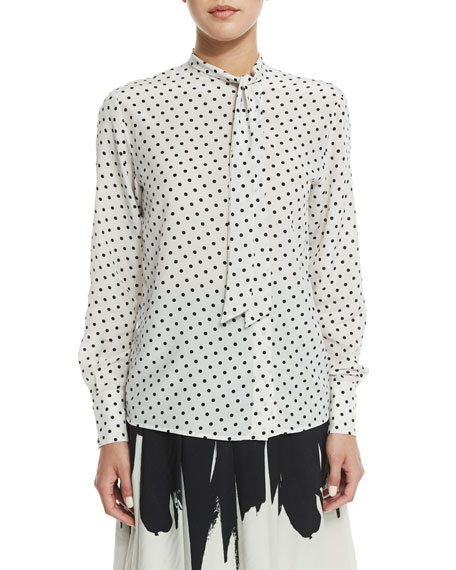 Bottega Veneta Long-Sleeve Dot-Print Blouse, Mist/Black