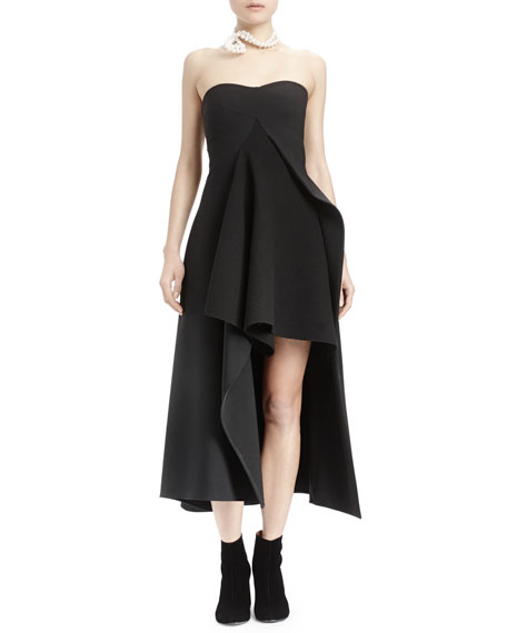 Stella McCartney Strapless Split-Front Asymmetric Gown, Black