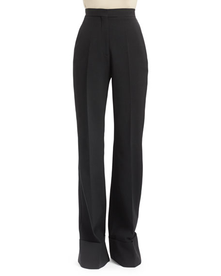 Stella McCartney High-Waist Double-Faced Pants, Black