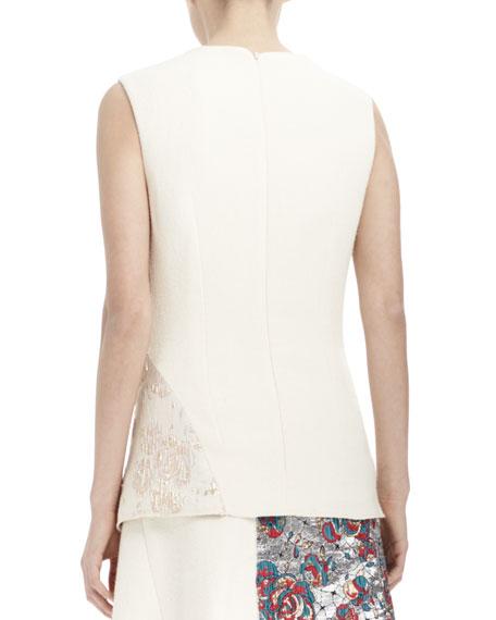 Sleeveless Brocade Patch Top, Winter White