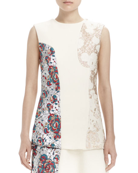 Stella McCartney Sleeveless Brocade Patch Top, Winter White