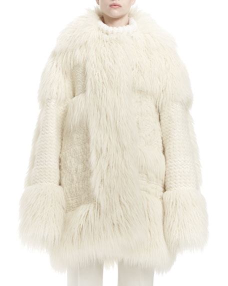 Stella McCartney Faux-Fur Long-Sleeve Coat, Ivory
