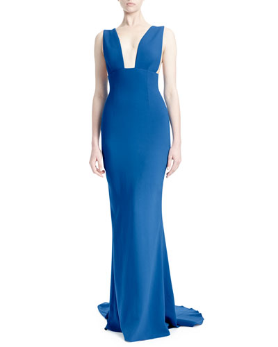Plunging Sleeveless Godet Gown, Bright Blue