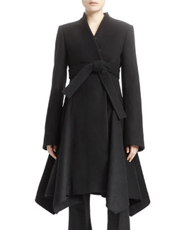 Long-Sleeve A-Line Wool Coat, Black