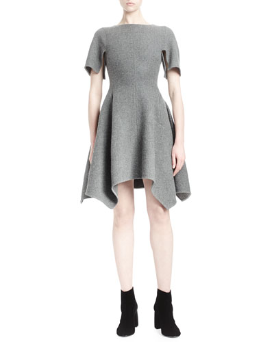Asymmetric-Hem Short-Sleeve Dress, Gray Melange