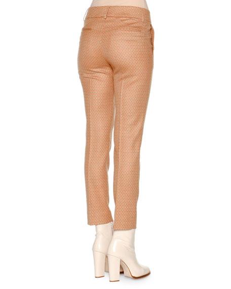 Square Dotted Jacquard Slim Ankle Pants