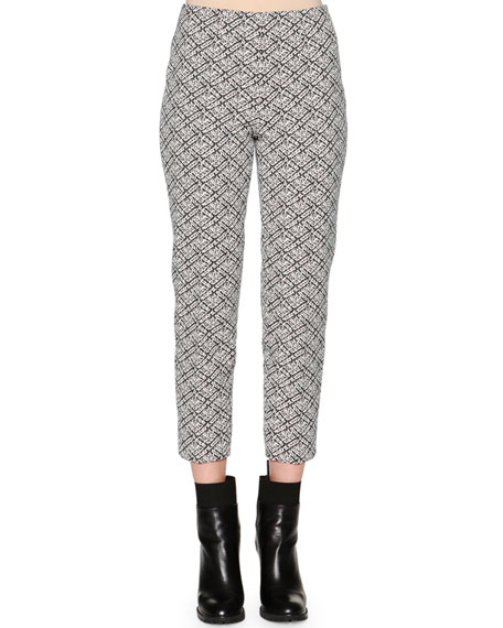 Piazza Sempione Audrey Weave-Pattern Jacquard Cropped Pants