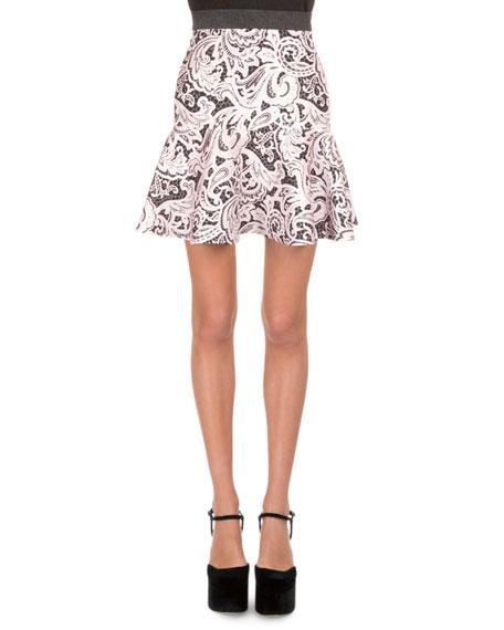 Mary Katrantzou Lace-Print Flounce Skirt