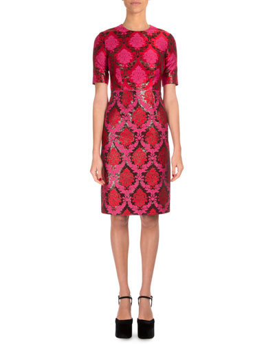 Short-Sleeve Damask-Print Sheath Dress, Dark Pink