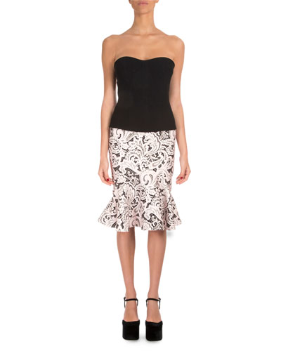 Strapless Printed-Skirt Combo Dress