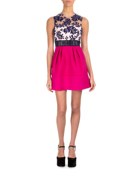 Mary Katrantzou Floral Tulle Contrast-Skirt Cocktail Dress
