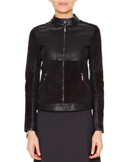 Velveteen & Leather Biker Jacket