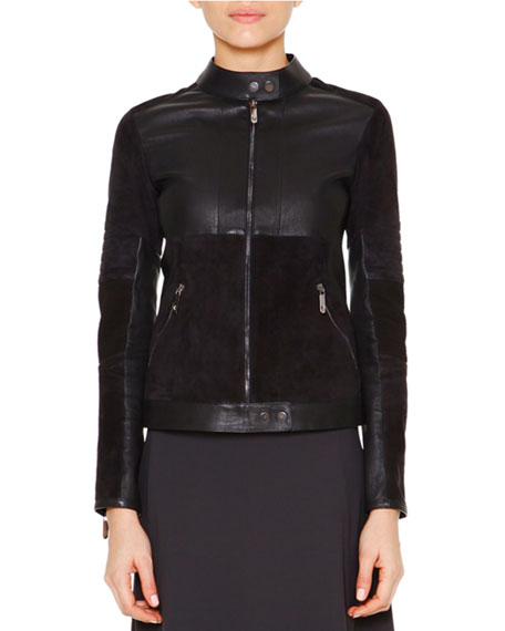 Callens Velveteen & Leather Biker Jacket