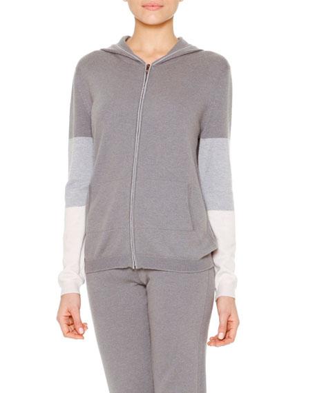 Callens Cashmere Colorblock Hooded Zip Sweatshirt