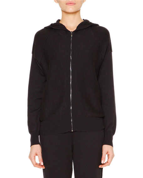 Callens Cashmere-Blend Honeycomb Knit Hooded Zip Sweater
