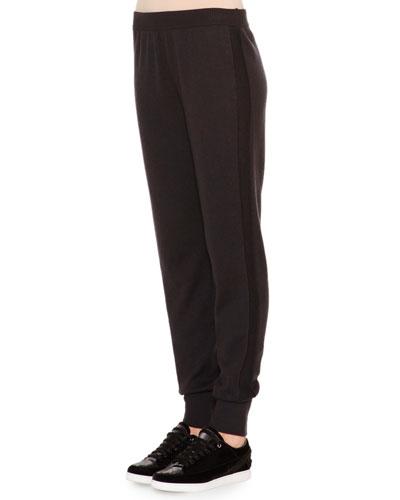 Cashmere-Blend Textured Side-Stripe Track Pants