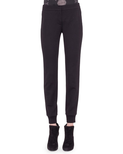 Jersey Tapered Ankle Pants, Black