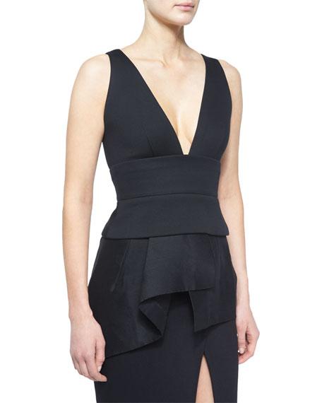 Donna Karan Sleeveless Plunge-Neck Peplum Top, Black