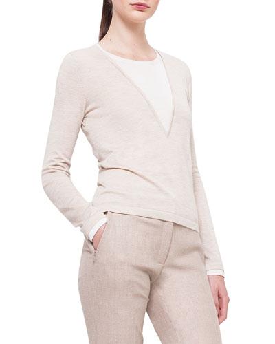 Bicolor Silk-Inset Cashmere Top, Birch/Off White