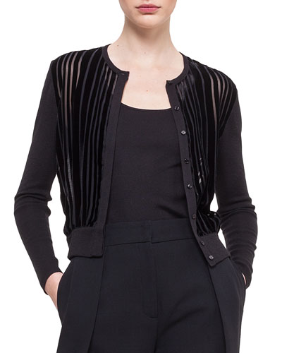 Striped Velvet Devore Cashmere-Blend Cardigan