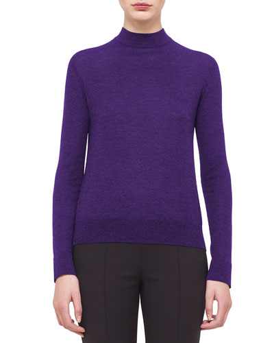 Cashmere-Blend Mock-Neck Top