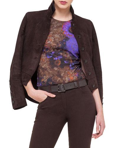 Satin-Trimmed Collar Suede Jacket
