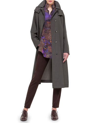 Hooded Taffeta Long Trenchcoat