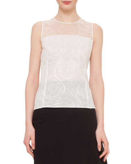 Akris Floral Lace Sleeveless Blouse