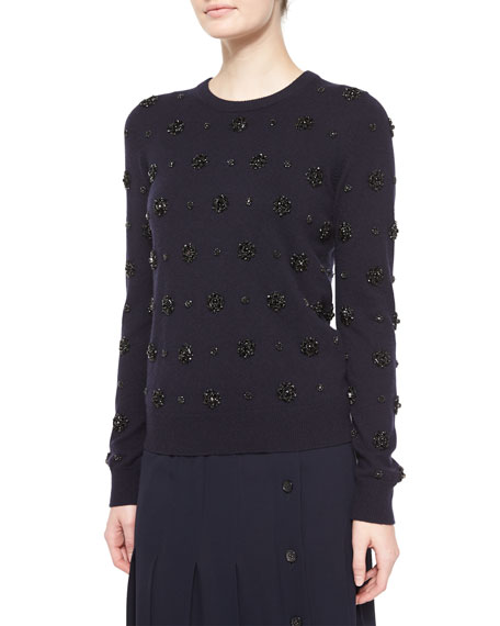 Michael Kors Collection Stretch-Cashmere Long-Sleeve Embellished