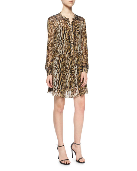 Roberto Cavalli Lace-Trimmed Leopard-Print Tunic Dress