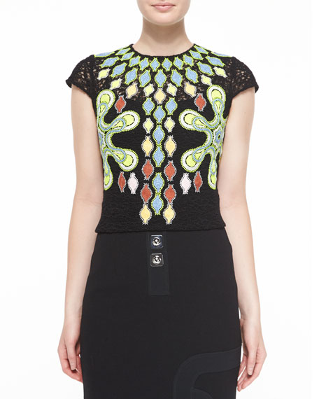 Peter Pilotto Cap-Sleeve Embroidered Tunic Blouse, Black
