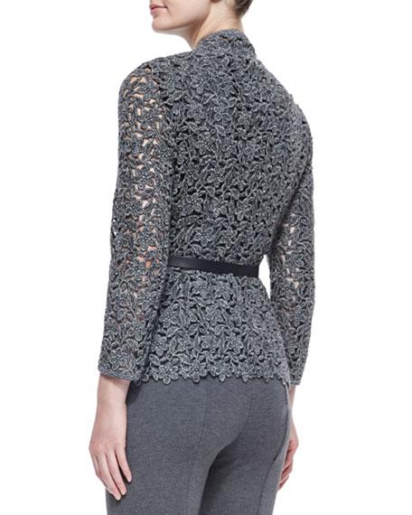 Floral Lace Open Jacket w/ Belt