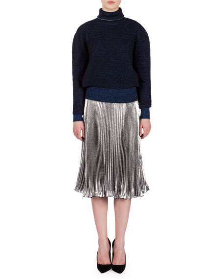 Lame Accordion-Pleated Skirt, Metallic Silver