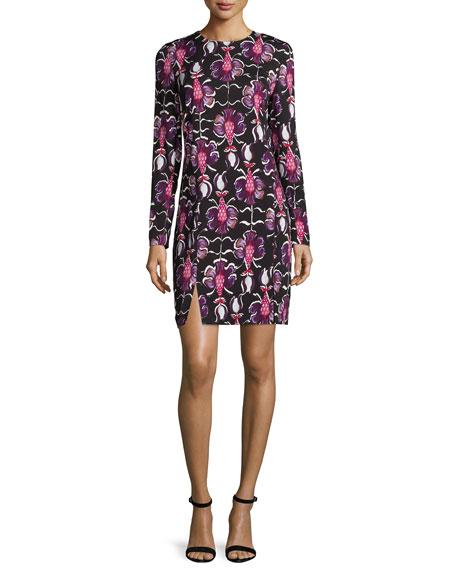 Wes Gordon Long-Sleeve Floral-Print Sheath Dress, Amethyst