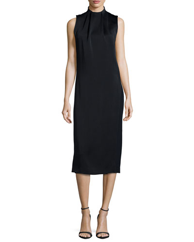 Sleeveless Mock-Neck Shift Dress, Black