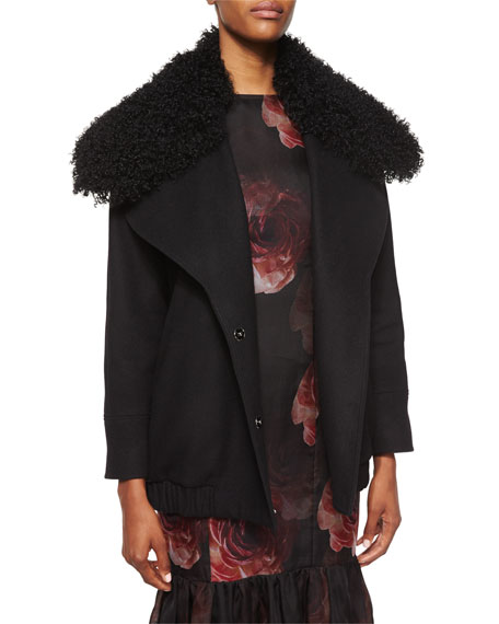 Adam Lippes Double-Breasted Fur-Collar Coat