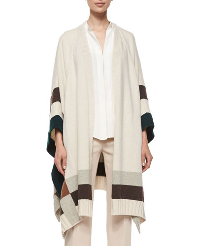 Colorblock Cape Poncho, Ivy/Dark Brown/Gray