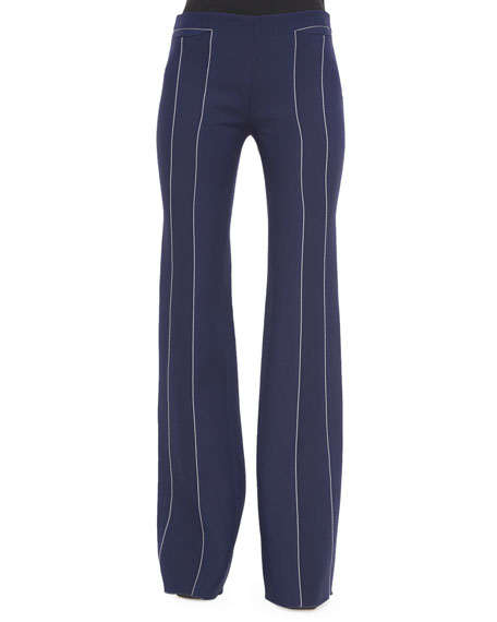 Derek Lam Contrast-Seam Flare Trousers, Navy/White