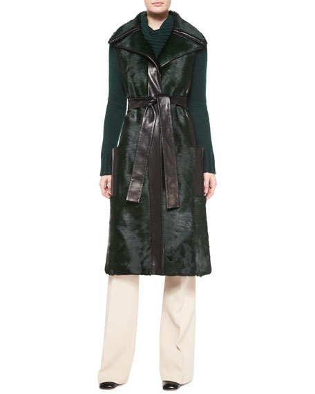 Derek Lam Sleeveless Calf Fur Leather-Trim Coat, Teal