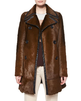 Double-Breasted Calf Fur Leather-Trim Coat, Almond