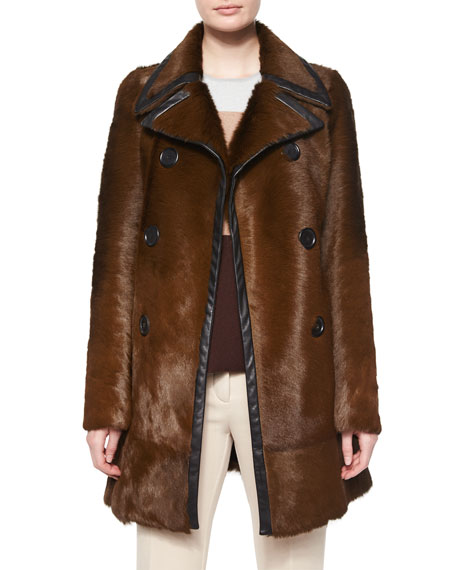 Derek Lam Double-Breasted Calf Fur Leather-Trim Coat, Almond