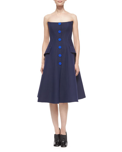 Strapless Button-Front Dress, Navy
