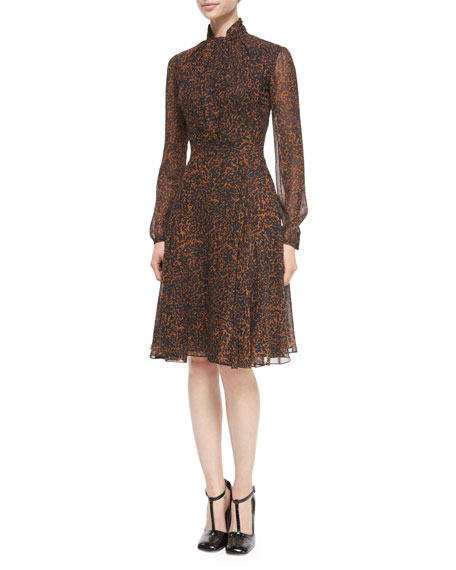 Derek Lam Tie-Neck Leopard-Print Chiffon Dress