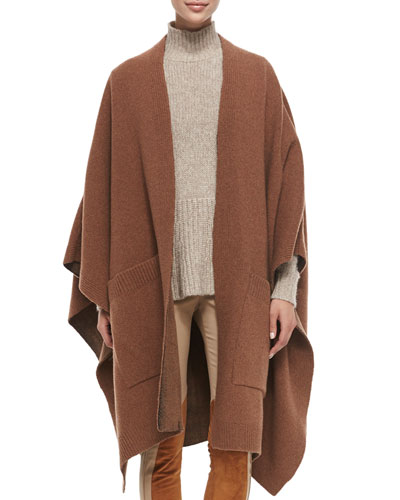 Wool Cape with Pockets, Vicuna