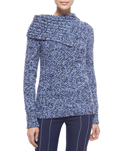 Cashmere Folded-Collar Sweater, Navy/Blue