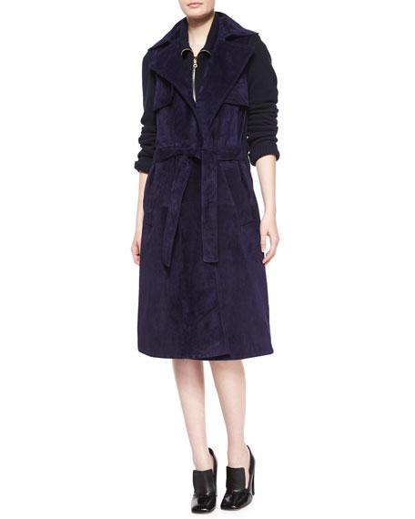 Derek Lam Suede & Knit Trench Coat, Navy