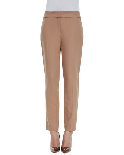 Tina Straight-Leg Wool Trousers, Caramel
