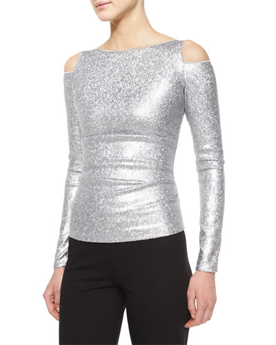 Cold-Shoulder Date-Night Top, Silver